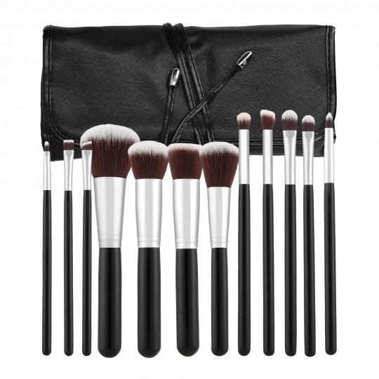 Professional Makeup brushes 12pcs set in Black - 1