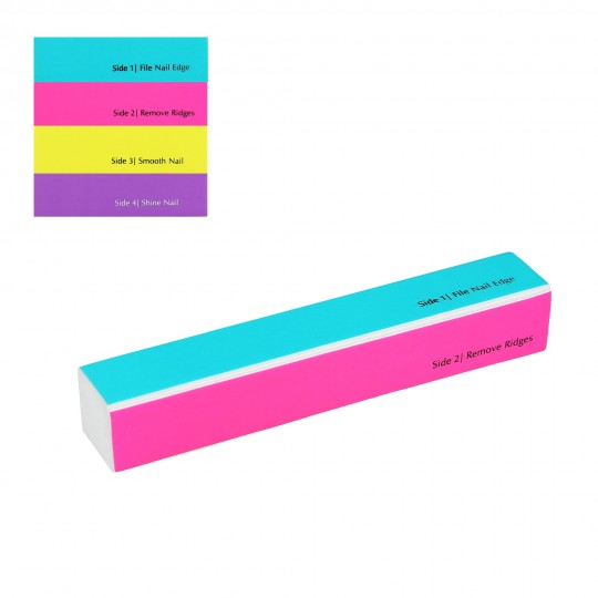Long 4-sided multi coloured nail buffer block