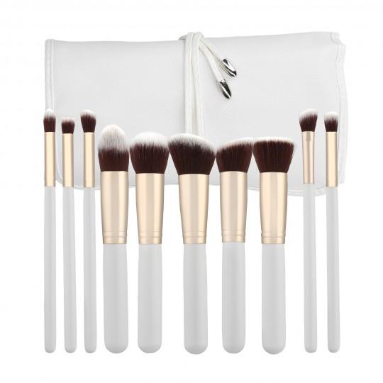 Professional Makeup brushes 10pcs set in White - 1