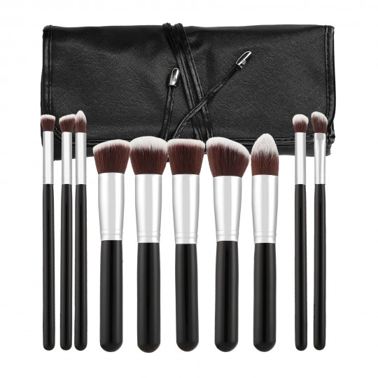 Professional Makeup brushes 10pcs set in Black - 1
