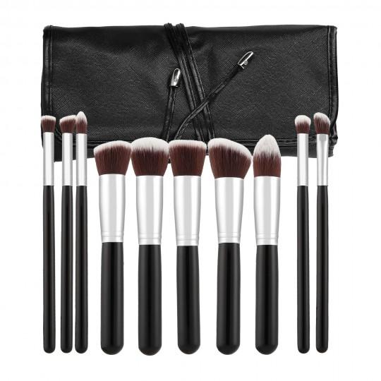 MIMO by Tools For Beauty, Zestaw 10 pędzli do makijażu, Czarny