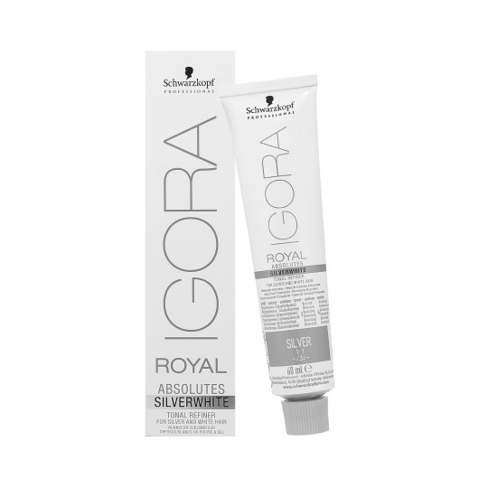 SCHWARZKOPF PROFESSIONAL IGORA ROYAL Absolutes Silver White Farba do srebrnych włosów 60ml - 1