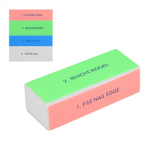 4-sided multi coloured nail buffer block