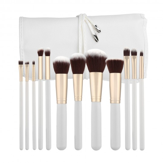 Professional Makeup brushes 12pcs set in White - 1