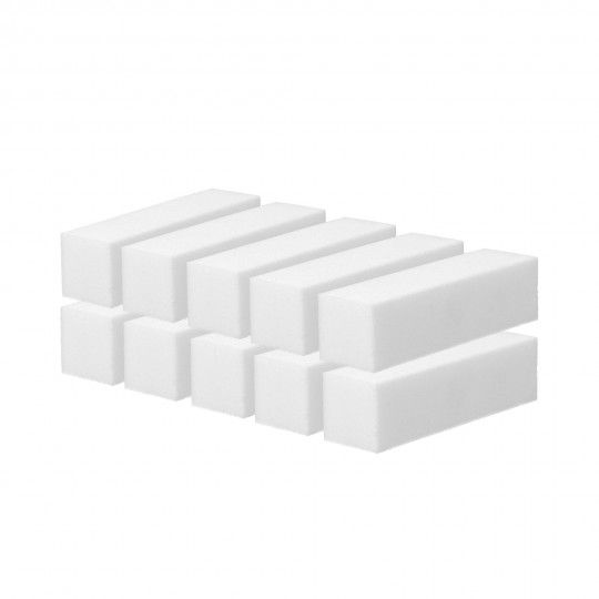 Set of 10 of 4-sided nail buffer blocks in white