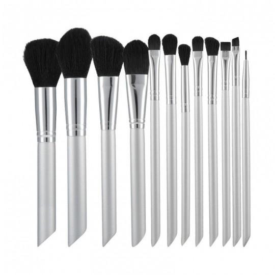 MIMO by Tools For Beauty, Zestaw 12 pędzli do makijażu, Srebrny
