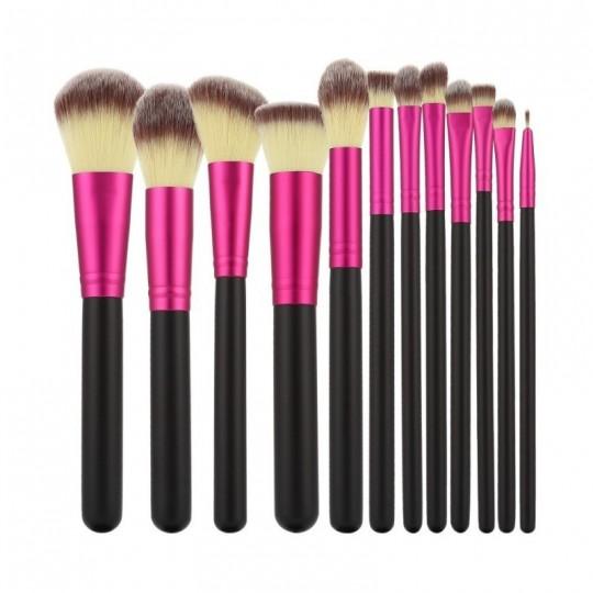 MIMO by Tools For Beauty, Zestaw 12 pędzli do makijażu, Czarno-różowy