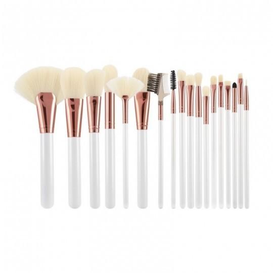MIMO by Tools For Beauty, Zestaw 18 pędzli do makijażu, Biały