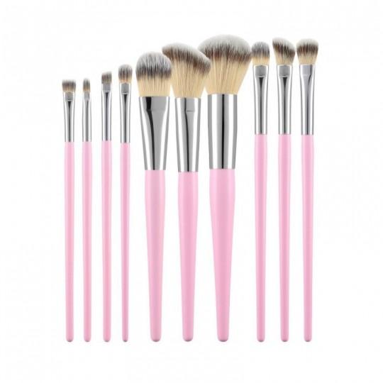 MIMO by Tools For Beauty, Zestaw 10 pędzli do makijażu, Różowy