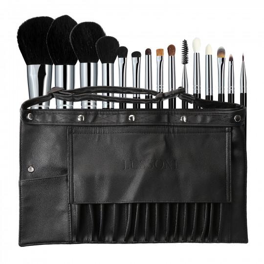 LUSSONI Master Kit 16-częściowy Zestaw profesjonalnych pędzli do makijażu z pasem charakteryzatorskim
