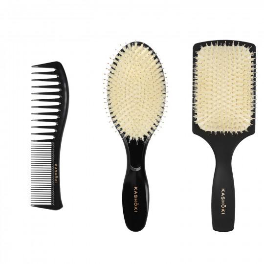 Kashōki Hasu 3-częściowy zestaw do rozczesywania włosów: 2 szczotki włosiem dzika i grzebień