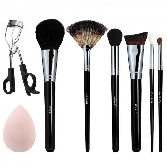 LUSSONI Glow Maker - 8-częściowy zestaw profesjonalnych pędzli i akcesoriów do makijażu