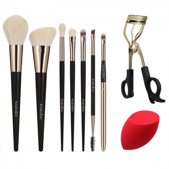 KASHŌKI HIMAWARI 9-częściowy zestaw pędzli i akcesoriów do makijażu