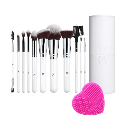 T4B ILŪ Expert Touch – 13-częściowy zestaw pędzli do makijażu z tubą i czyścikiem do pędzli
