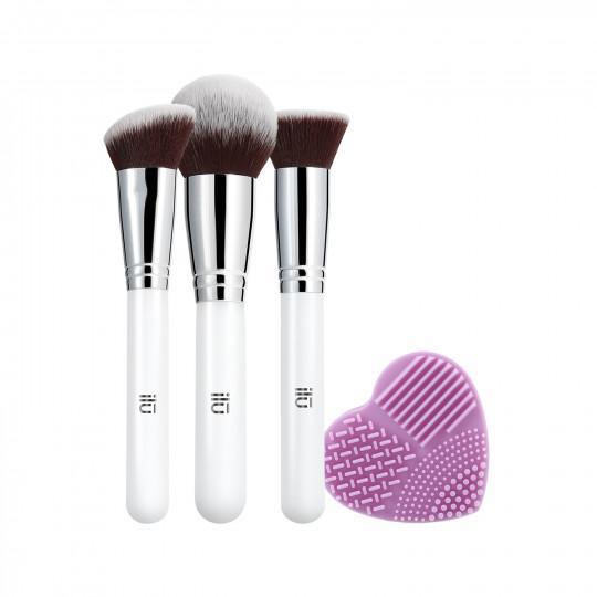 ilū by Tools For Beauty, Must Have – 4-częściowy zestaw pędzli do makijażu z czyscikiem