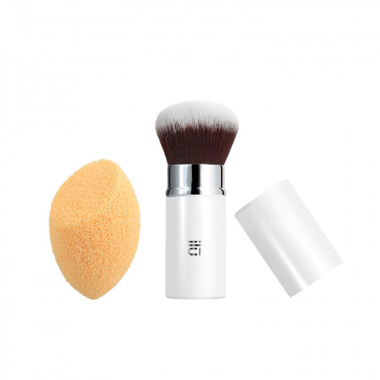 ilū Less Is More – 2-częściowy zestaw: pędzel do pudru i gąbka do oczyszczania twarzy
