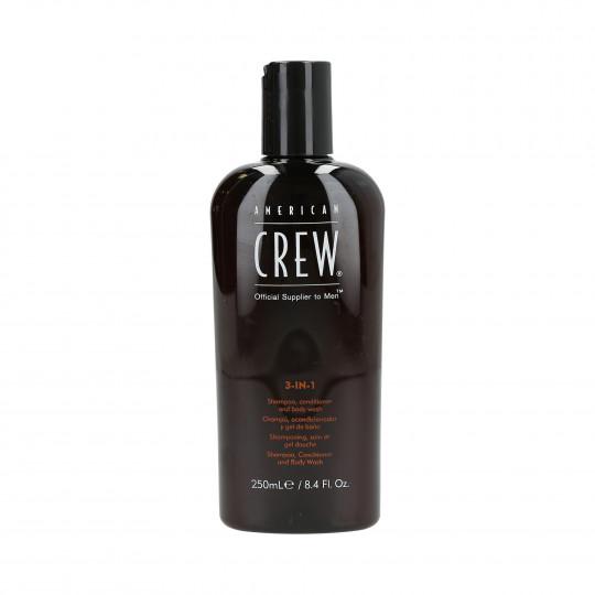 AMERICAN CREW Szampon do włosów, odżywka i żel pod prysznic 3w1 250ml