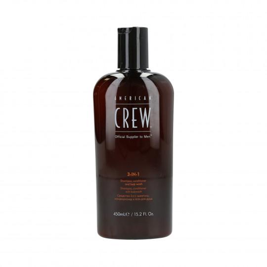 AMERICAN CREW Szampon do włosów, odżywka i żel pod prysznic 3w1 450ml