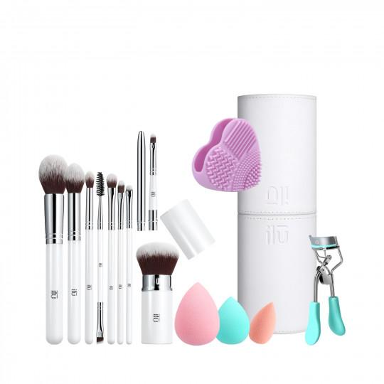 ilū by Tools For Beauty, Beauty Influence – 13-częściowy zestaw pędzli do makijażu z kompletem gąbek, tubą, czyścikiem i zalotką