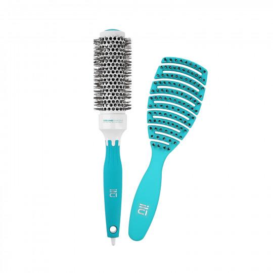 ilū by Tools For Beauty, Zestaw 2 turkusowych szczotek: do modelowania i do rozczesywania włosów