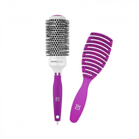 ilū by Tools For Beauty, Zestaw 2 fioletowych szczotek: do modelowania i do rozczesywania włosów