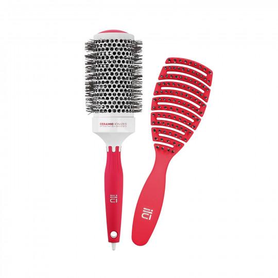 ilū by Tools For Beauty, Zestaw 2 czerwonych szczotek: do modelowania i do rozczesywania włosów