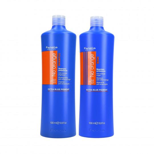 FANOLA NO ORANGE Zestaw do włosów brązowych szampon 1000ml+maska 1000ml