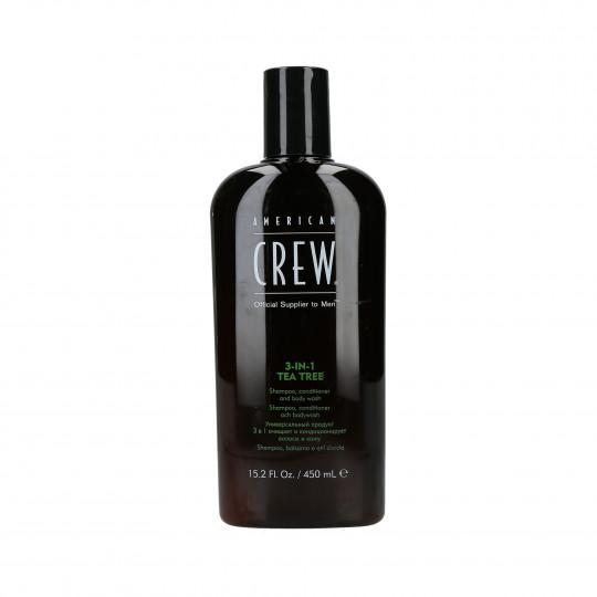 AMERICAN CREW Tea Tree Szampon do włosów, odżywka i żel pod prysznic 3w1 450ml