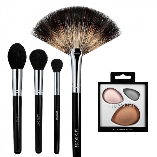 LUSSONI Classy Girl - 5-częściowy zestaw profesjonalnych pędzli i gąbek do makijażu