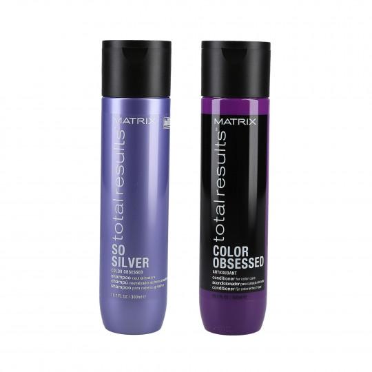 MATRIX TOTAL RESULTS COLOR OBSESSED Zestaw do włosów w odcieniach blondu i siwego oraz farbowanych szampon 300ml+odżywka 300ml