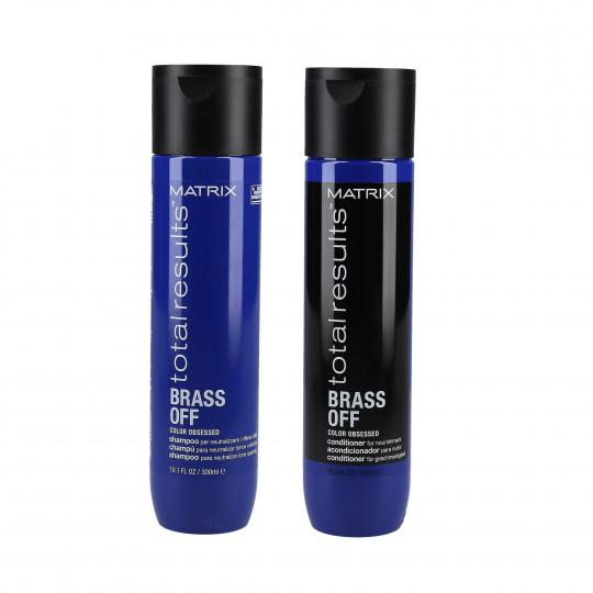 MATRIX TOTAL RESULTS BRASS OFF Zestaw do włosów naturalnych i farbowanych szampon 300ml+odżywka 300ml