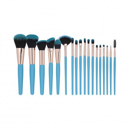 MIMO by Tools For Beauty, Zestaw 18 pędzli do makijażu, Niebieski