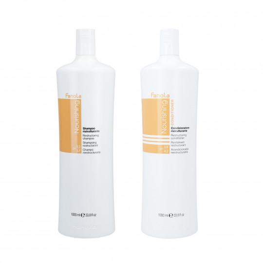 FANOLA NOURISHING Zestaw do włosów osłabionych szampon 1000ml+odżywka 1000ml
