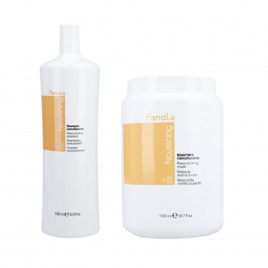 FANOLA NOURISHING Zestaw do włosów osłabionych szampon 1000ml+maska 1500ml