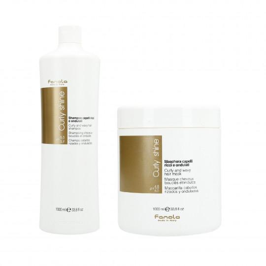 FANOLA CURLY SHINE Zestaw do włosów kręconych szampon 1000ml+maska 1000ml