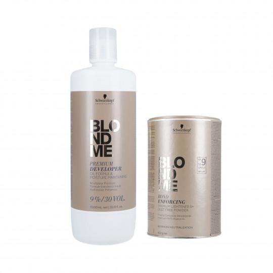 SCHWARZKOPF BLONDME Zestaw do włosów Rozjaśniacz 450g + Utleniacz 9% 1000ml